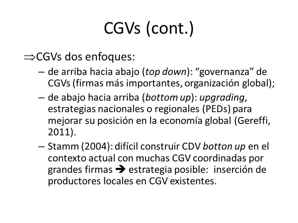 CGVs (cont.) CGVs dos enfoques: – de arriba hacia abajo (top down): governanza de CGVs (firmas más importantes, organización global); – de abajo hacia
