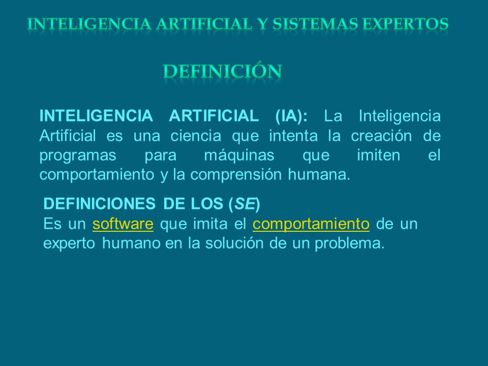 INTELIGENCIA ARTIFICIAL (IA): La Inteligencia Artificial es una ciencia que intenta la creación de programas para máquinas que imiten el comportamient