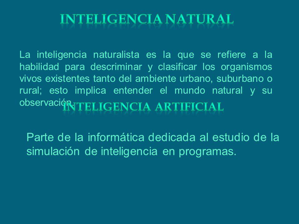 La inteligencia naturalista es la que se refiere a la habilidad para descriminar y clasificar los organismos vivos existentes tanto del ambiente urban