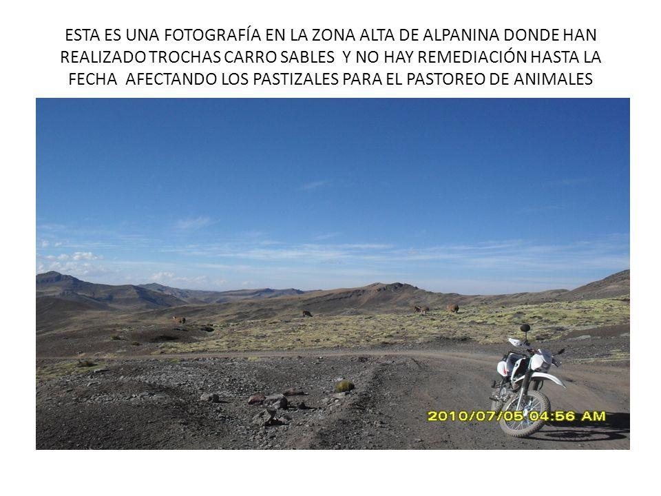 ESTA ES UNA FOTOGRAFÍA EN LA ZONA ALTA DE ALPANINA DONDE HAN REALIZADO TROCHAS CARRO SABLES Y NO HAY REMEDIACIÓN HASTA LA FECHA AFECTANDO LOS PASTIZAL