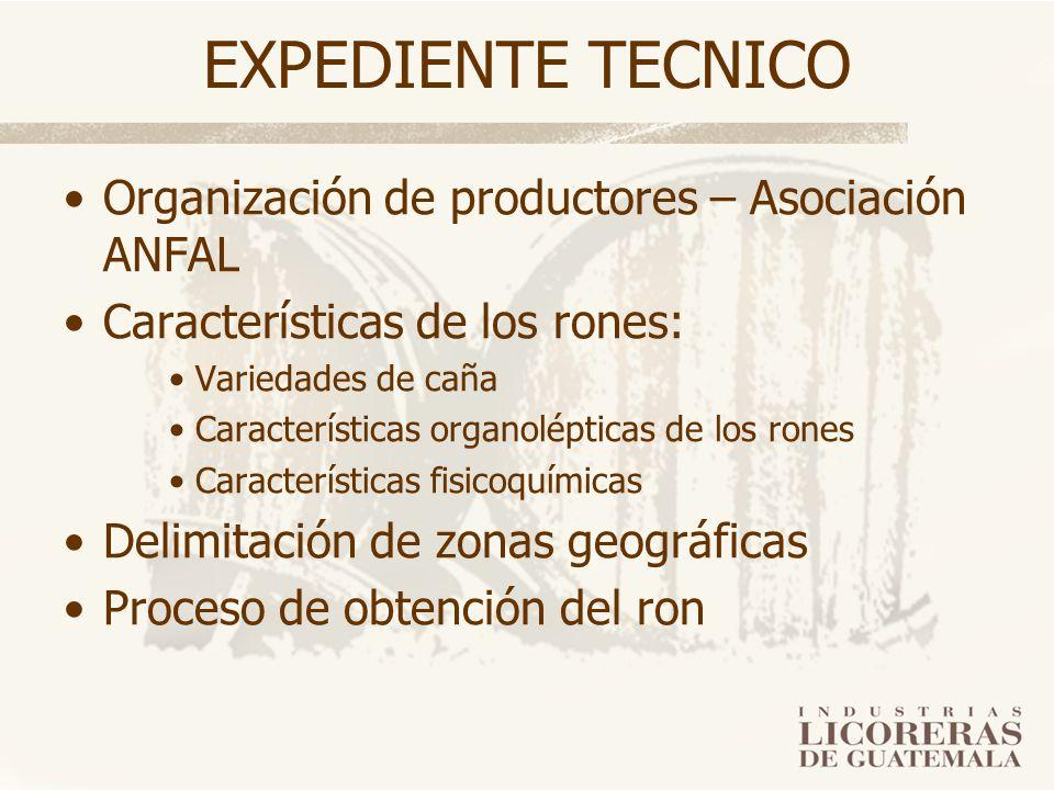 EXPEDIENTE TECNICO Organización de productores – Asociación ANFAL Características de los rones: Variedades de caña Características organolépticas de l