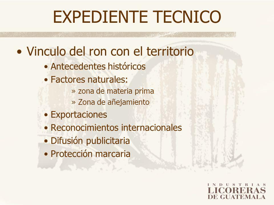 EXPEDIENTE TECNICO Vinculo del ron con el territorio Antecedentes históricos Factores naturales: »zona de materia prima »Zona de añejamiento Exportaci