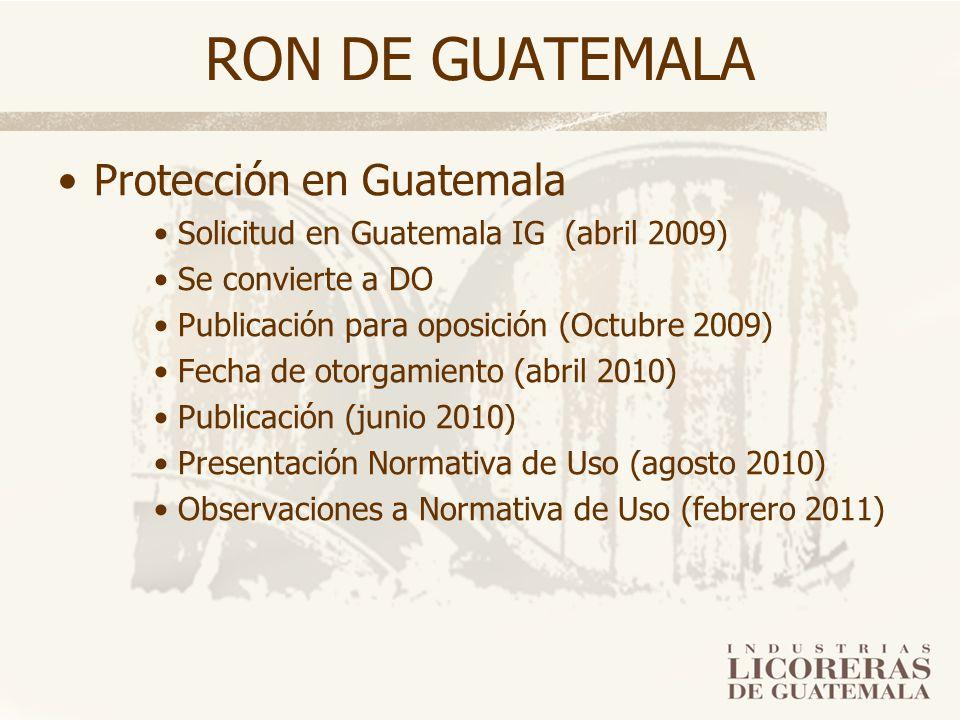 RON DE GUATEMALA Protección en Guatemala Solicitud en Guatemala IG (abril 2009) Se convierte a DO Publicación para oposición (Octubre 2009) Fecha de o