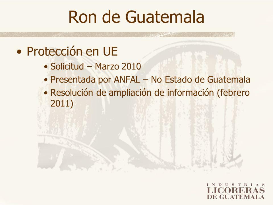 Ron de Guatemala Protección en UE Solicitud – Marzo 2010 Presentada por ANFAL – No Estado de Guatemala Resolución de ampliación de información (febrer