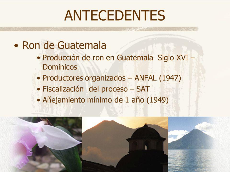 ANTECEDENTES Ron de Guatemala Producción de ron en Guatemala Siglo XVI – Dominicos Productores organizados – ANFAL (1947) Fiscalización del proceso –