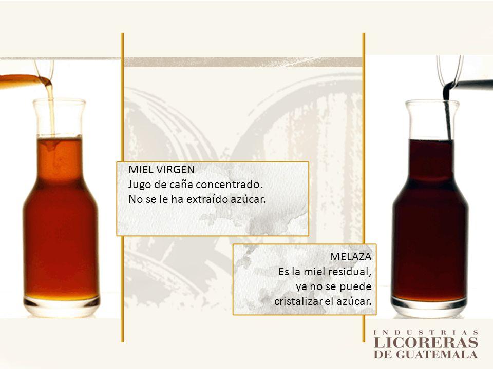 MELAZA Es la miel residual, ya no se puede cristalizar el azúcar. MIEL VIRGEN Jugo de caña concentrado. No se le ha extraído azúcar.