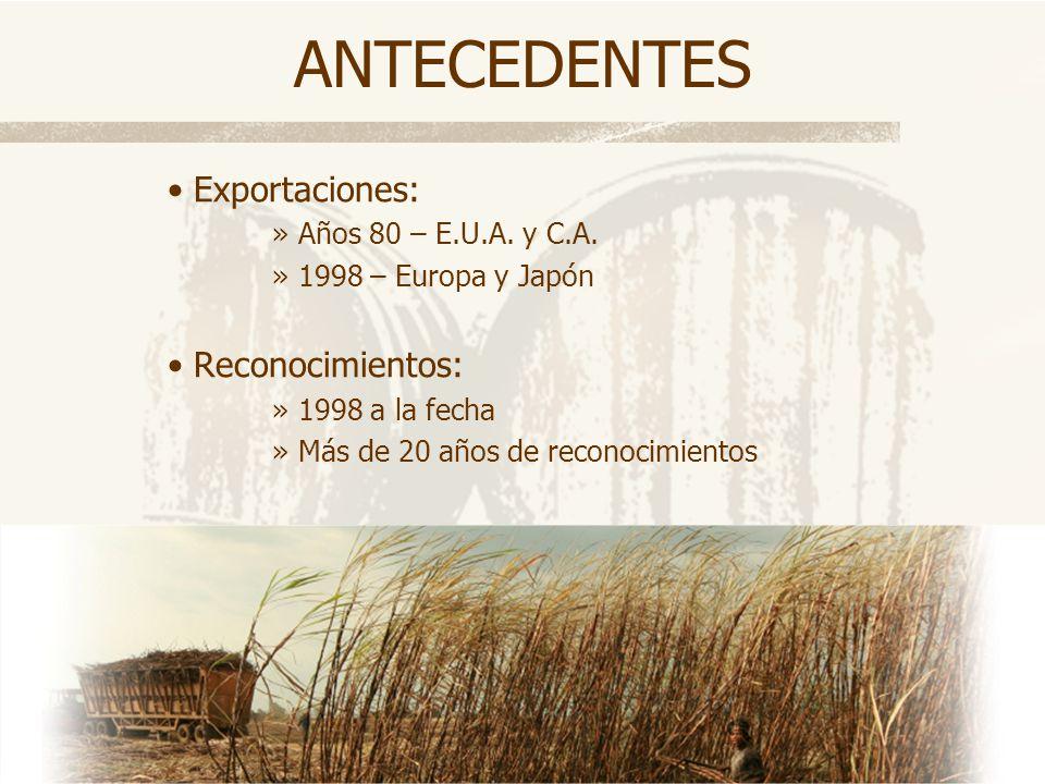 ANTECEDENTES Exportaciones: »Años 80 – E.U.A. y C.A. »1998 – Europa y Japón Reconocimientos: »1998 a la fecha »Más de 20 años de reconocimientos