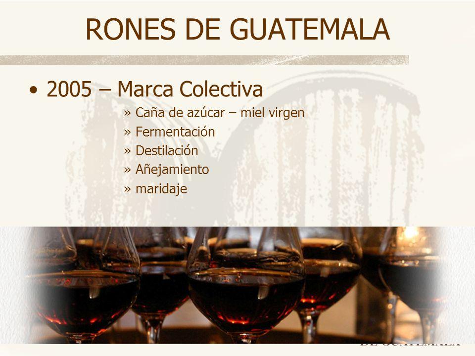 RONES DE GUATEMALA 2005 – Marca Colectiva »Caña de azúcar – miel virgen »Fermentación »Destilación »Añejamiento »maridaje