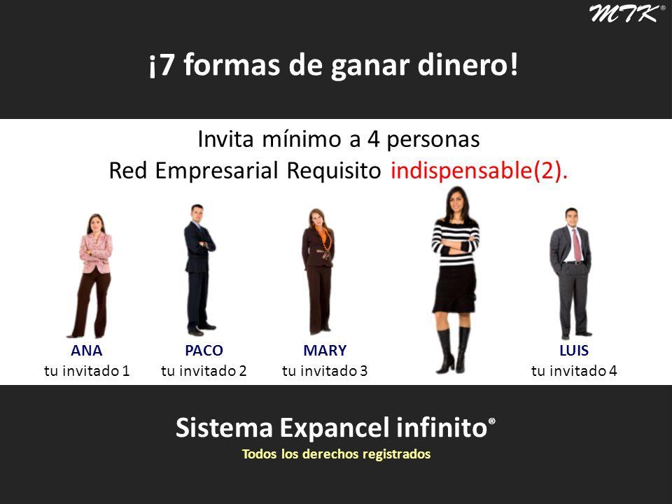 Sistema Expancel infinito ® Todos los derechos registrados ¡7 formas de ganar dinero! Invita mínimo a 4 personas Red Empresarial Requisito indispensab