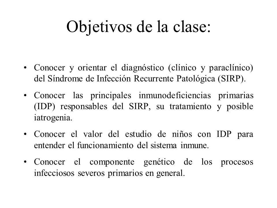 Objetivos de la clase: Conocer y orientar el diagnóstico (clínico y paraclínico) del Síndrome de Infección Recurrente Patológica (SIRP). Conocer las p