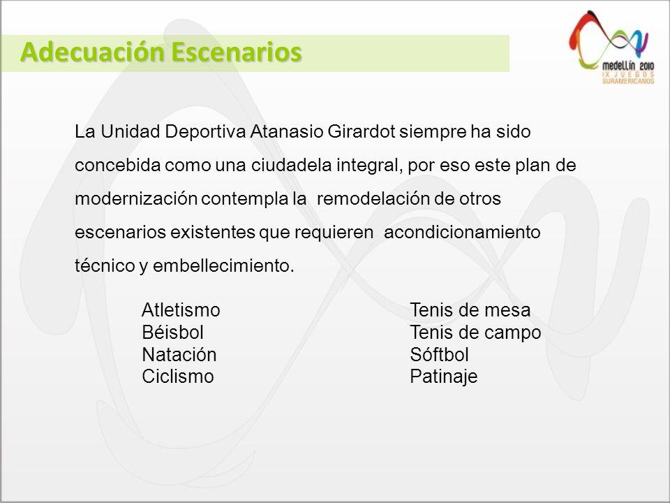 La Unidad Deportiva Atanasio Girardot siempre ha sido concebida como una ciudadela integral, por eso este plan de modernización contempla la remodelación de otros escenarios existentes que requieren acondicionamiento técnico y embellecimiento.