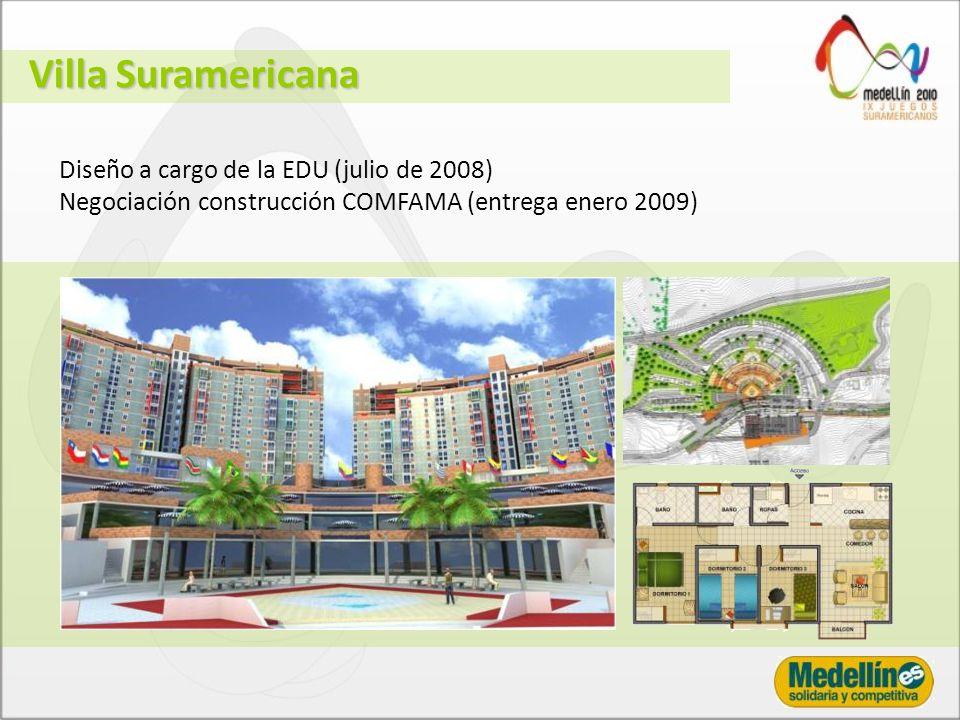 Diseño a cargo de la EDU (julio de 2008) Negociación construcción COMFAMA (entrega enero 2009) Villa Suramericana