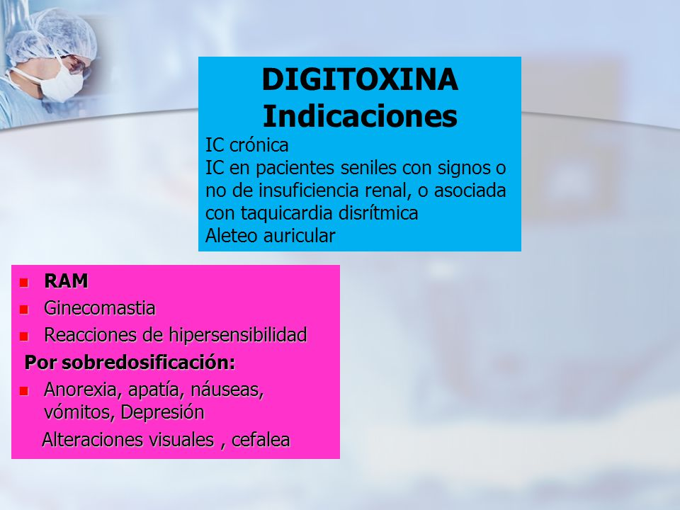 DIGITOXINA Indicaciones IC crónica IC en pacientes seniles con signos o no de insuficiencia renal, o asociada con taquicardia disrítmica Aleteo auricu
