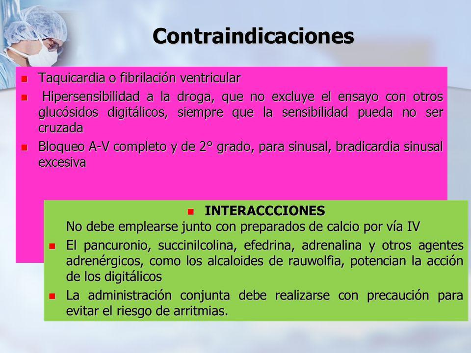 Contraindicaciones Taquicardia o fibrilación ventricular Taquicardia o fibrilación ventricular Hipersensibilidad a la droga, que no excluye el ensayo