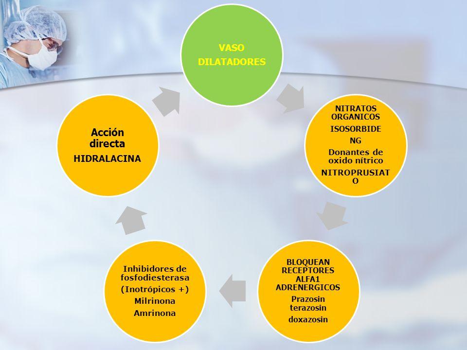 VASO DILATADORES NITRATOS ORGANICOS ISOSORBIDE NG Donantes de oxido nítrico NITROPRUSIAT O BLOQUEAN RECEPTORES ALFA1 ADRENERGICOS Prazosin terazosin d