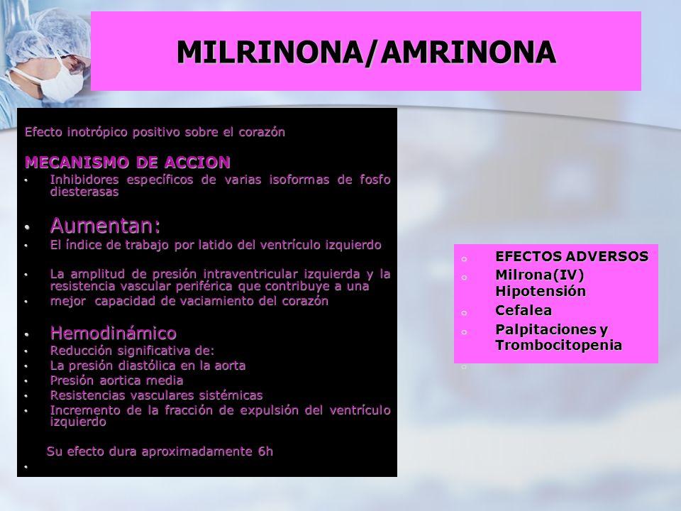 MILRINONA/AMRINONA Efecto inotrópico positivo sobre el corazón MECANISMO DE ACCION Inhibidores específicos de varias isoformas de fosfo diesterasas In