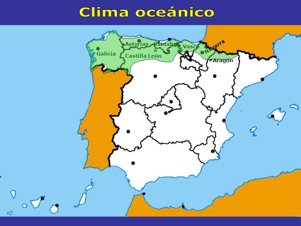El CLIMA OCEÁNICO Galicia Asturias Cantabria Norte de Castilla y León País Vasco Norte de Navarra Norte de Aragón Características Se extiende por Temperaturas suaves A lo largo de todo el año Veranos frescos Inviernos suaves Precipitaciones abundantes A lo largo de todo el año Superan los 1100 l / m 2 Vegetación Bosques Bosque atlántico de robles, castaños y hayas Suelos con helechos y tojos En la costa el bosque atlántico se sustituye por pinos y eucaliptos Prados Verdes todo el año