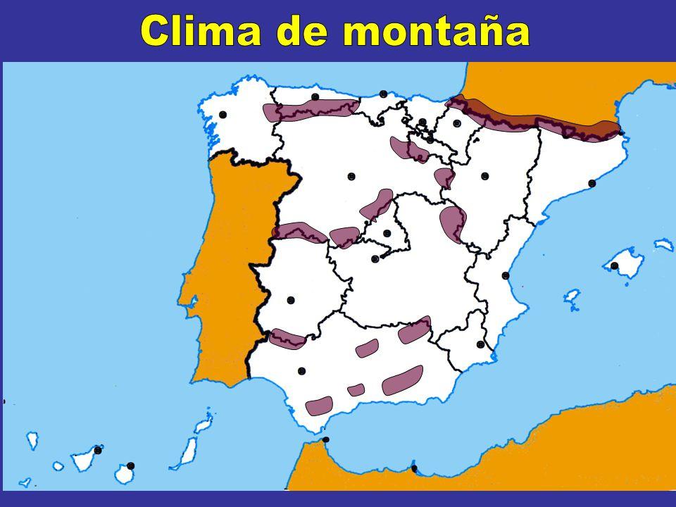 El CLIMA DE MONTAÑA Cordillera Cantábrica Características Se extiende por Temperaturas Muy frías en invierno, por debajo de 0º Frescas en verano, no superan los 15º Precipitaciones Abundantes Vegetación Cambia con la altura Cumbre Prados y arbustos Media Pinos y abetos Sistema Ibérico Pirineos Sistema Central Zonas de las Cordilleras Bética y Penibética En invierno en forma de nieve