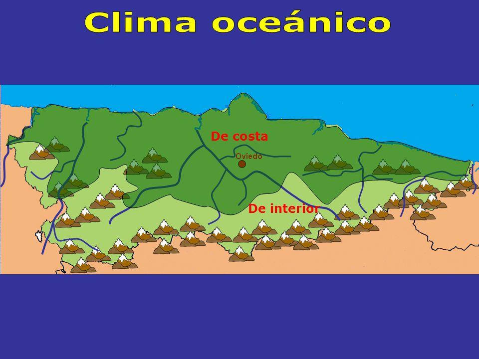 El CLIMA OCEÁNICO La mayor parte del territorio asturiano Dos zonas Se extiende por CostaInterior Temperaturas suaves Precipitaciones abundantes Temperaturas más bajas que en la costa Precipitaciones más abundantes que en la costa