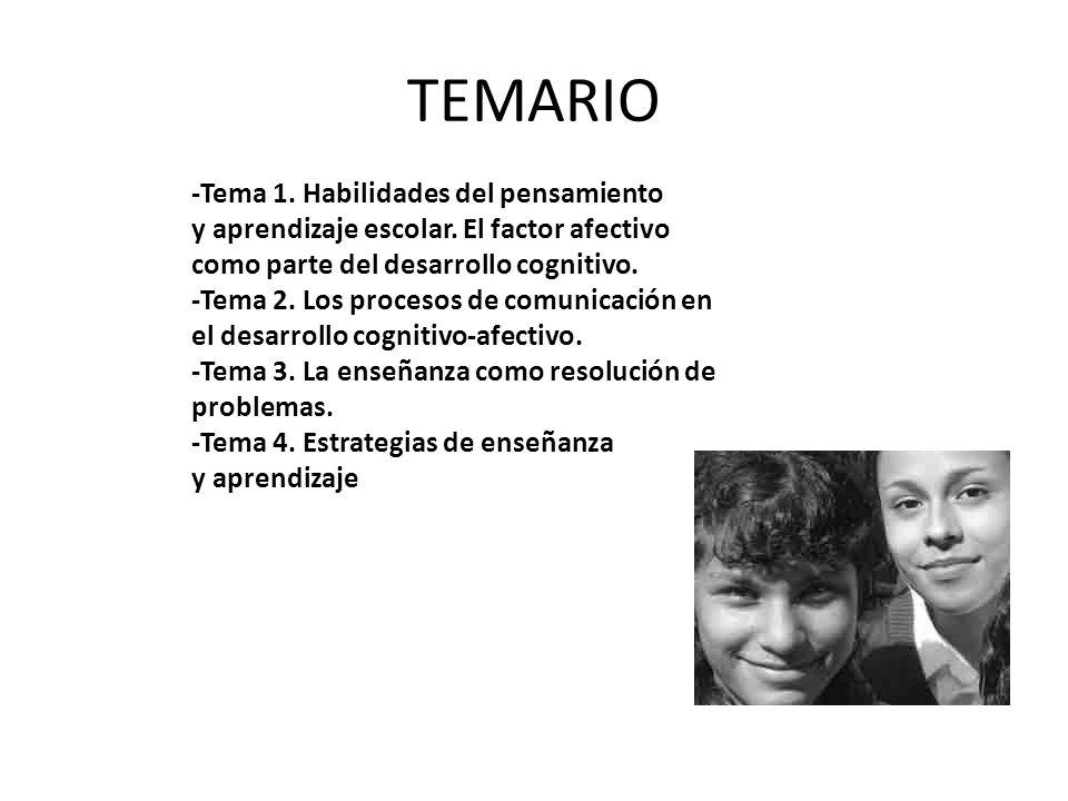 TEMARIO -Tema 1. Habilidades del pensamiento y aprendizaje escolar. El factor afectivo como parte del desarrollo cognitivo. -Tema 2. Los procesos de c