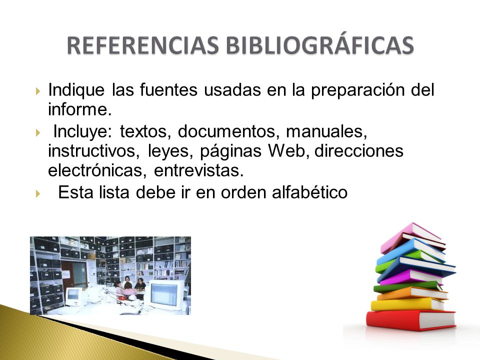 Indique las fuentes usadas en la preparación del informe. Incluye: textos, documentos, manuales, instructivos, leyes, páginas Web, direcciones electró
