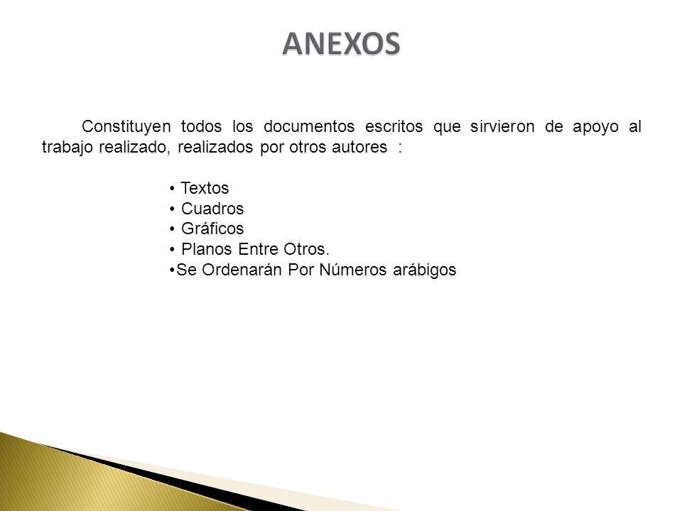 Constituyen todos los documentos escritos que sirvieron de apoyo al trabajo realizado, realizados por otros autores : Textos Cuadros Gráficos Planos E