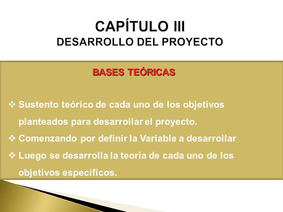 BASES TEÓRICAS Sustento teórico de cada uno de los objetivos planteados para desarrollar el proyecto. Comenzando por definir la Variable a desarrollar