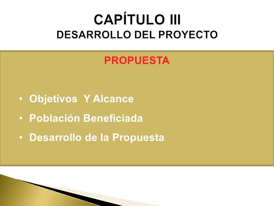 PROPUESTA Objetivos Y Alcance Población Beneficiada Desarrollo de la Propuesta