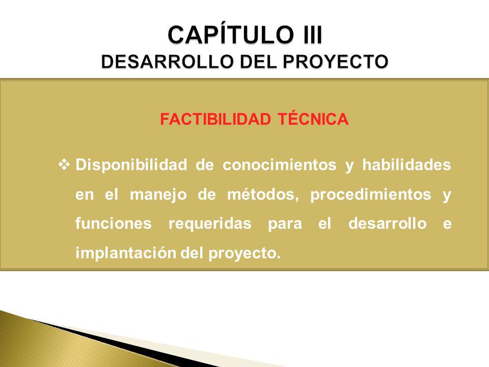 FACTIBILIDAD TÉCNICA Disponibilidad de conocimientos y habilidades en el manejo de métodos, procedimientos y funciones requeridas para el desarrollo e