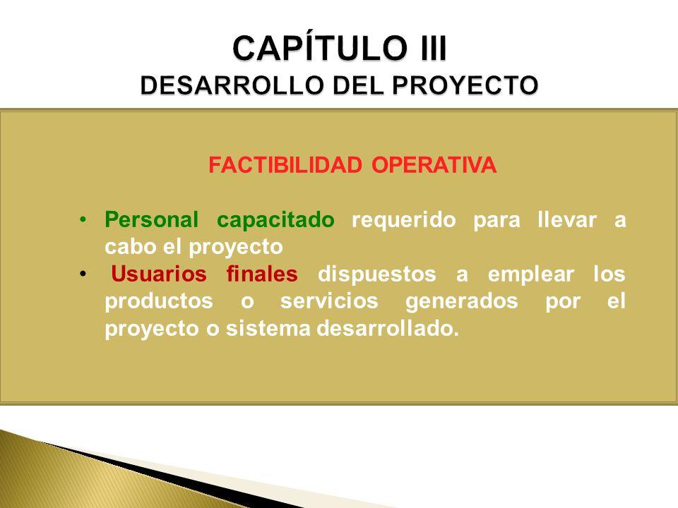 FACTIBILIDAD OPERATIVA Personal capacitado requerido para llevar a cabo el proyecto Usuarios finales dispuestos a emplear los productos o servicios ge