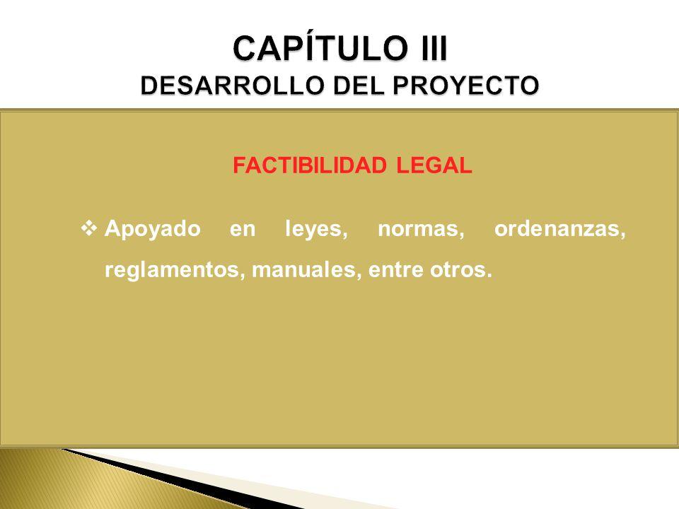 FACTIBILIDAD LEGAL Apoyado en leyes, normas, ordenanzas, reglamentos, manuales, entre otros.