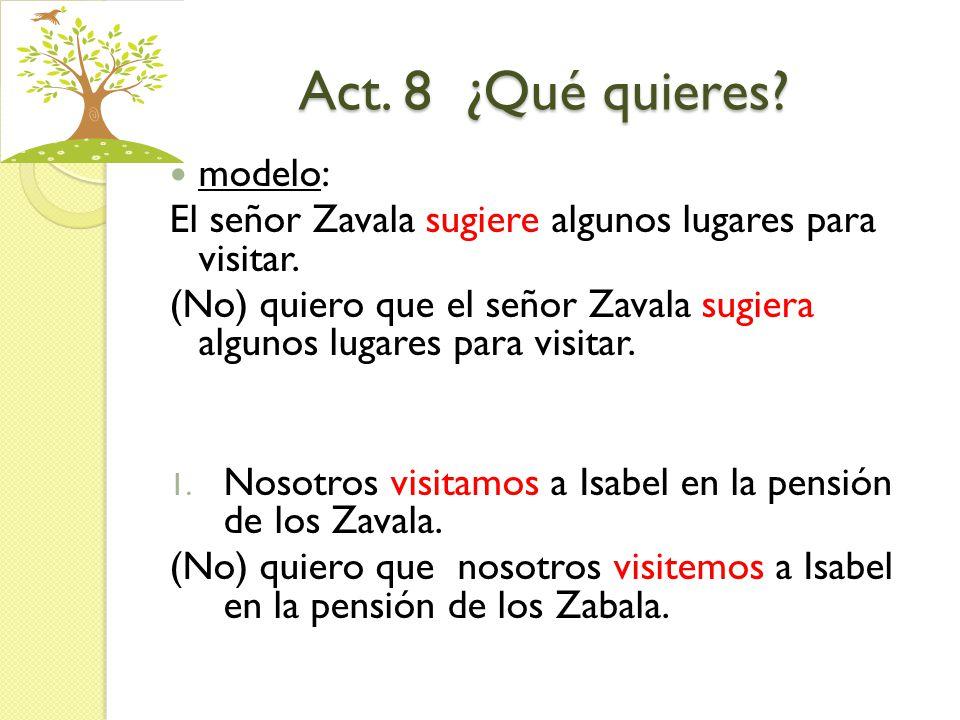 Act. 8 ¿Qué quieres? modelo: El señor Zavala sugiere algunos lugares para visitar. (No) quiero que el señor Zavala sugiera algunos lugares para visita