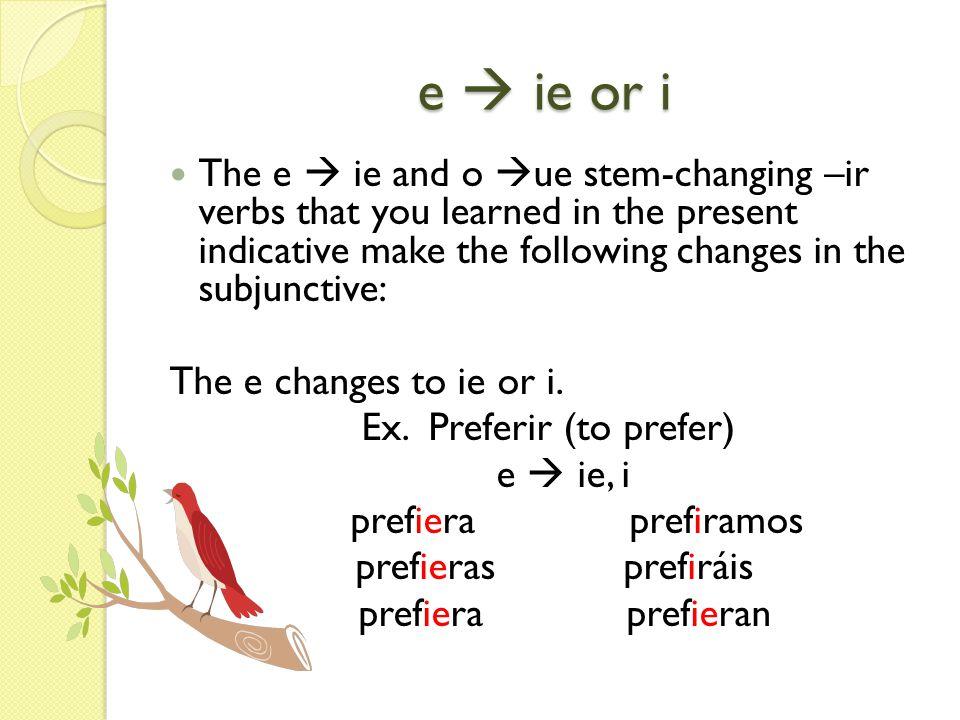 o ue or u The o changes to ue or u.