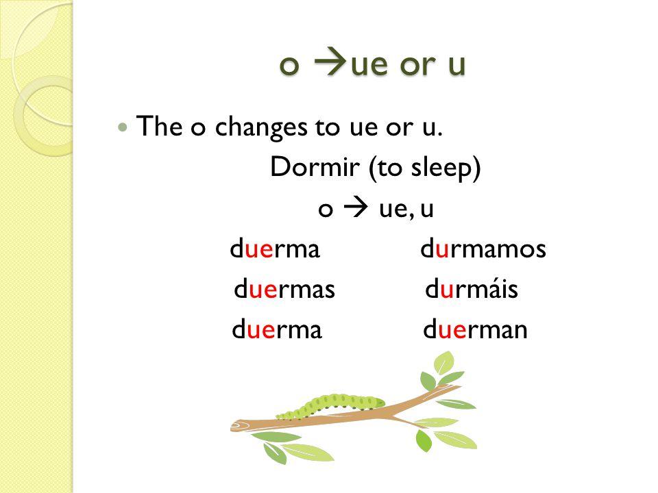 o ue or u The o changes to ue or u. Dormir (to sleep) o ue, u duerma durmamos duermas durmáis duerma duerman