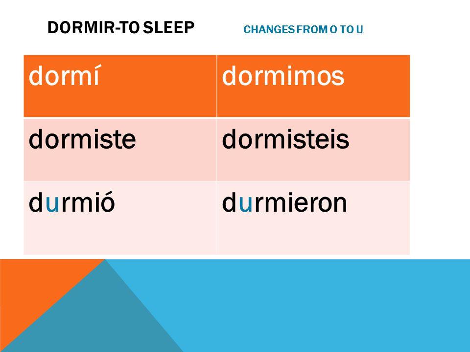 DORMIR-TO SLEEP CHANGES FROM O TO U dormídormimos dormistedormisteis durmiódurmieron