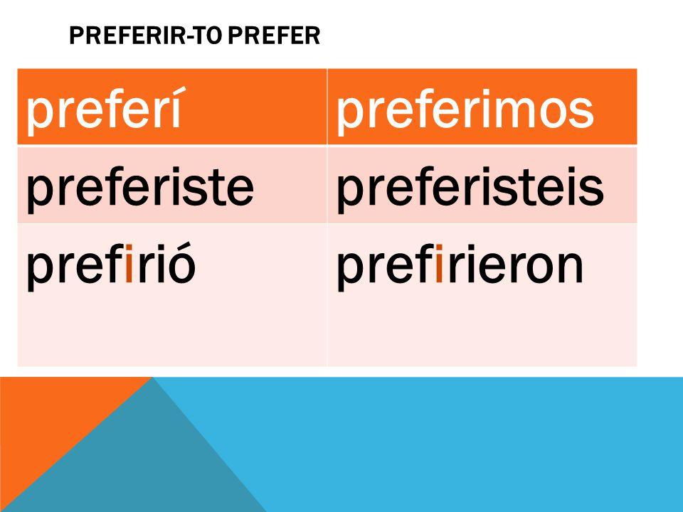 PREFERIR-TO PREFER preferípreferimos preferistepreferisteis prefirióprefirieron