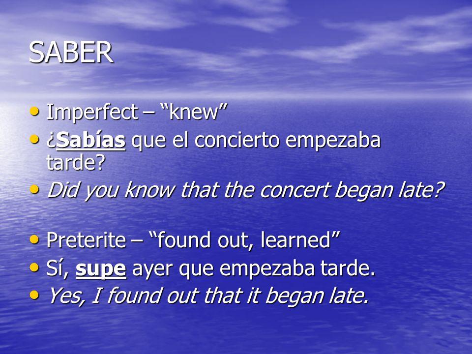 SABER Imperfect – knew Imperfect – knew ¿Sabías que el concierto empezaba tarde? ¿Sabías que el concierto empezaba tarde? Did you know that the concer