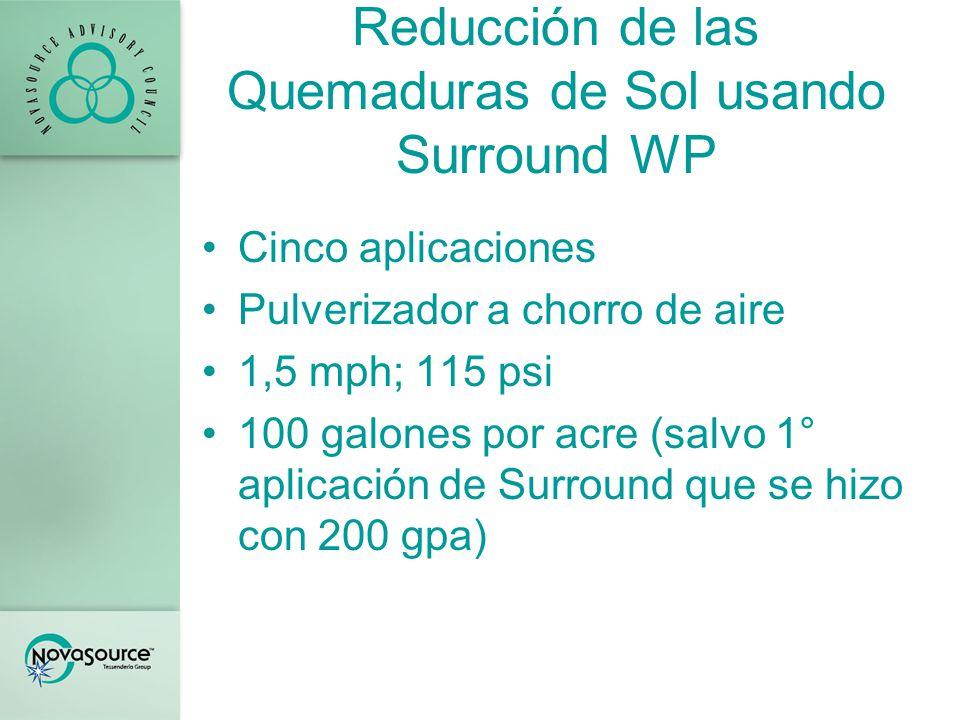Reducción de las Quemaduras de Sol usando Surround WP Lista del tratamiento 1.Control sin tratamiento 2.Surround WP a 50 lb/A seguido de Surround WP a 25 lb/A 3.Raynox a 2,5 galones/acre 4.Eclipse a 3 galones/acre