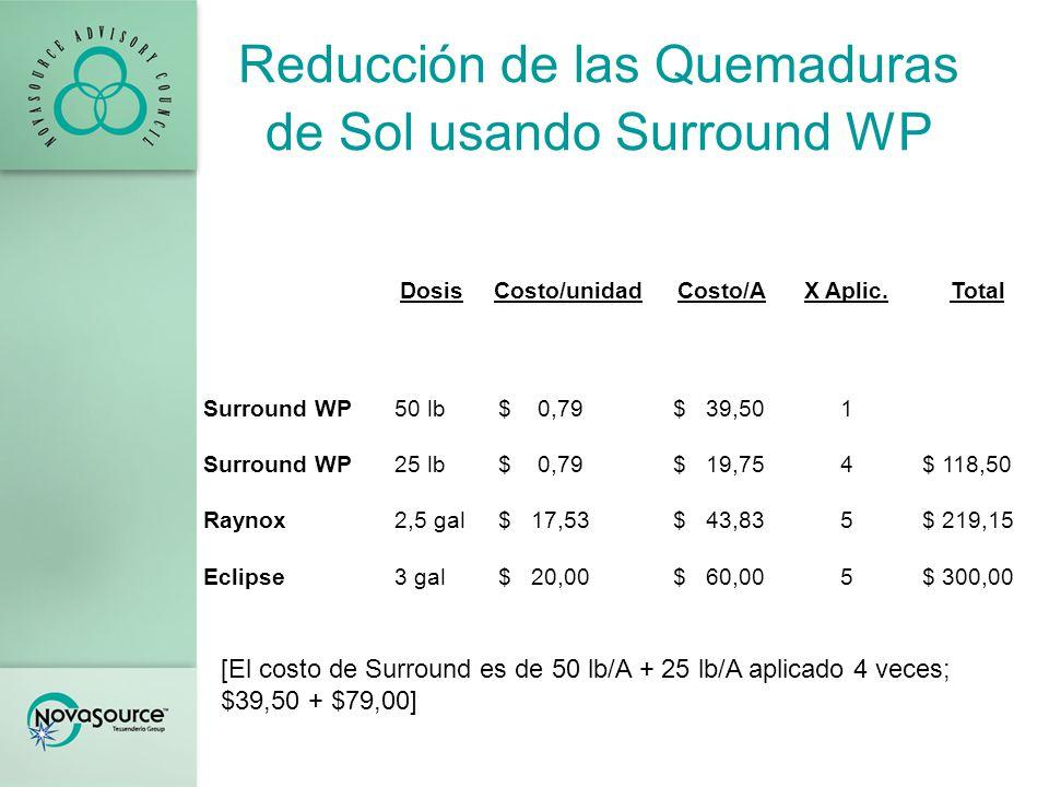 Reducción de las Quemaduras de Sol usando Surround WP Retorno de Inversión CSTSurroundRaynoxEclipse Recipiente base/A30 % de quemaduras de sol 4013,523,527,75 Rendimiento comercializable 18262322 X $250 / recipiente$4.500$6.500$5.750$5.500 Menos costo/A de materiales --$120$220$300 Retorno neto por acre $4.500$6.380$5.530$5.200 Aumento neto sobre el CST --$1.880$1.030$700