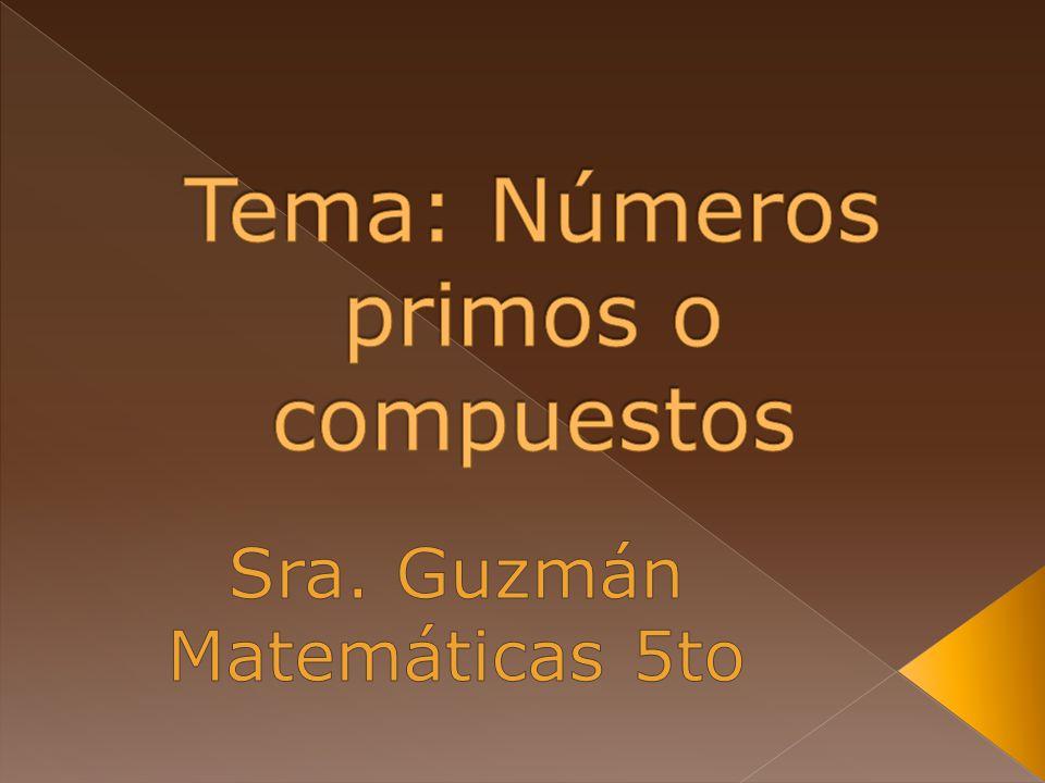Vocabulario: 1) Números compuestos- Son números con más de 2 factores.