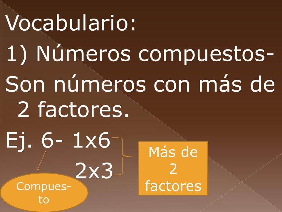 Vocabulario: 1) Números compuestos- Son números con más de 2 factores. Ej. 6- 1x6 2x3 Compues- to Más de 2 factores