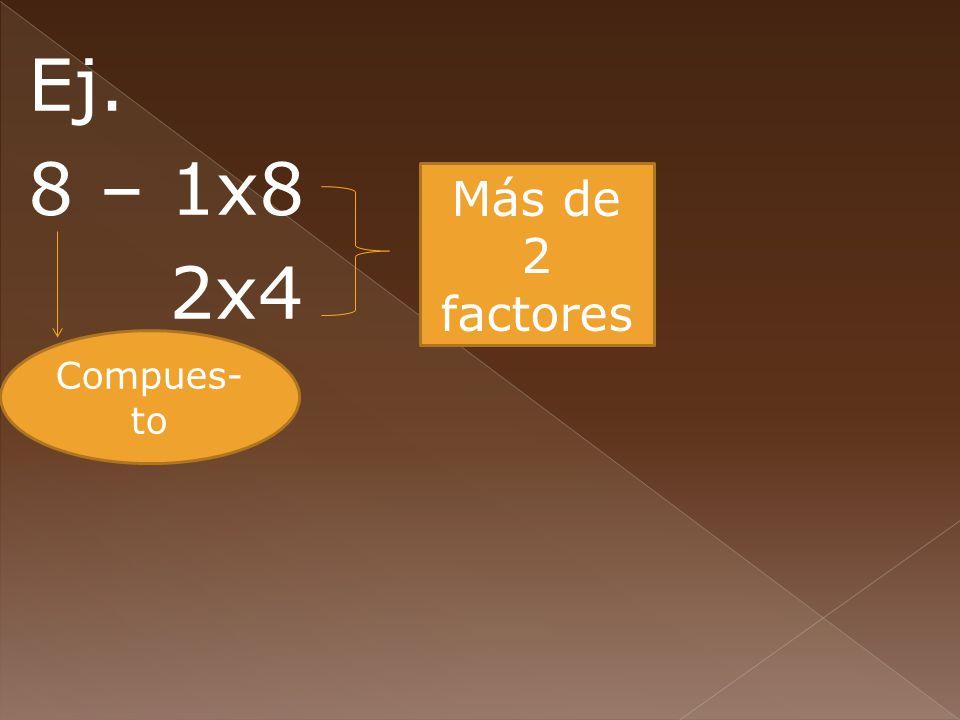 Ej. 8 – 1x8 2x4 Compues- to Más de 2 factores