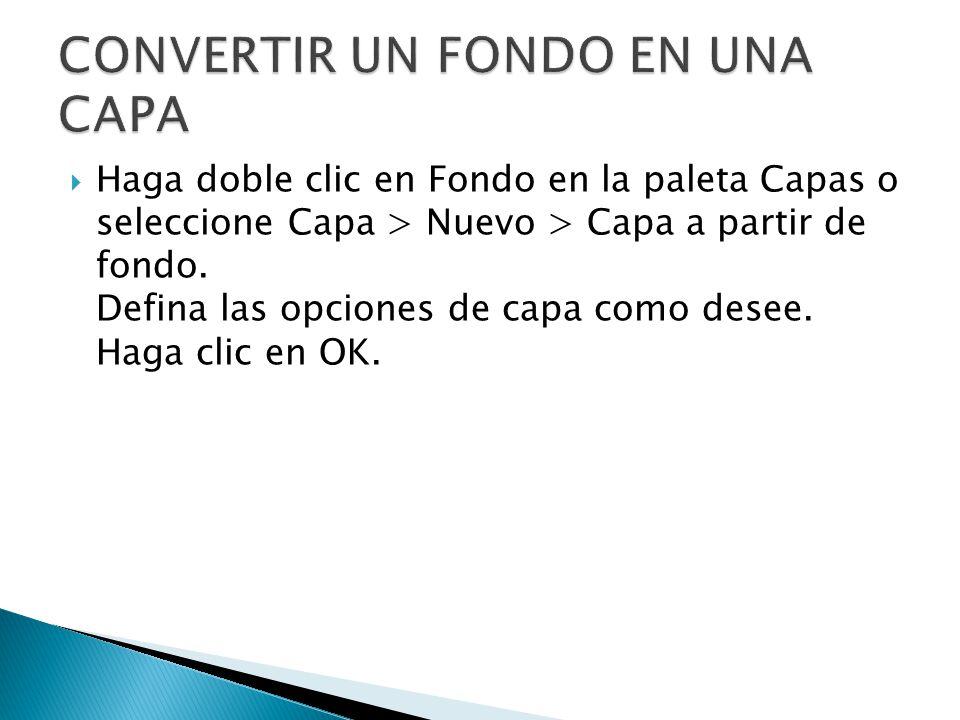 Haga doble clic en Fondo en la paleta Capas o seleccione Capa > Nuevo > Capa a partir de fondo.