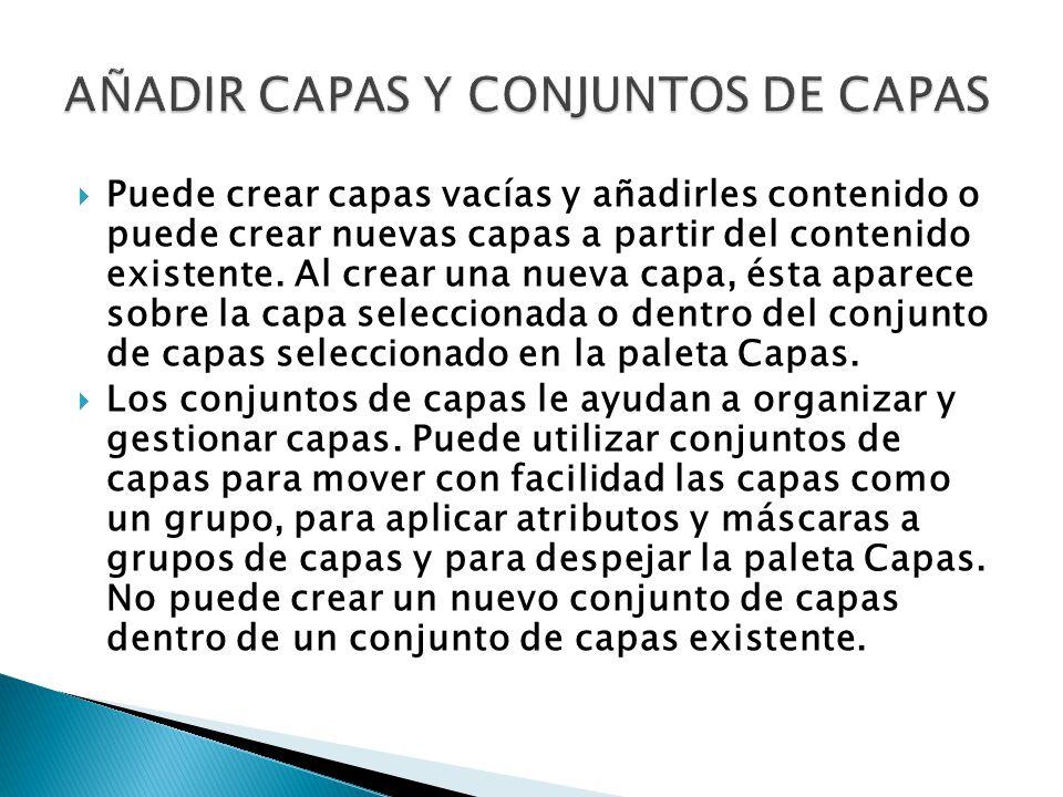 Puede crear capas vacías y añadirles contenido o puede crear nuevas capas a partir del contenido existente.