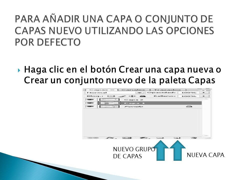 Haga clic en el botón Crear una capa nueva o Crear un conjunto nuevo de la paleta Capas NUEVO GRUPO DE CAPAS NUEVA CAPA
