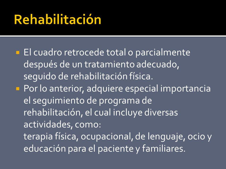 El cuadro retrocede total o parcialmente después de un tratamiento adecuado, seguido de rehabilitación física.