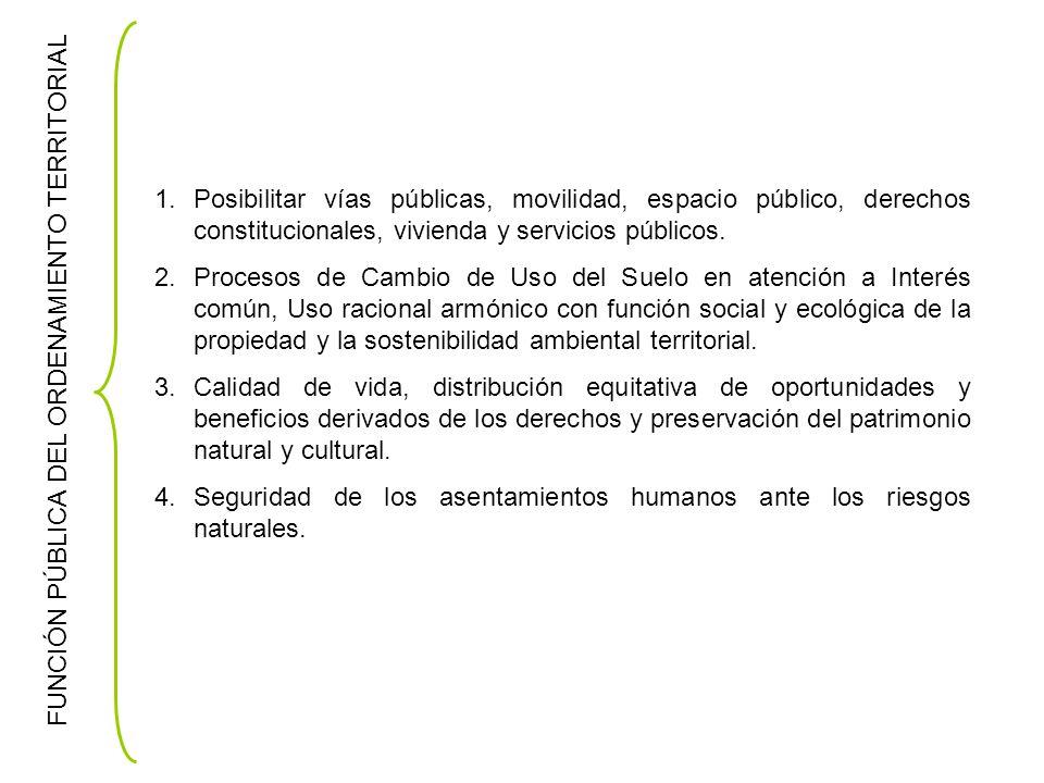 FUNCIÓN PÚBLICA DEL ORDENAMIENTO TERRITORIAL 1.Posibilitar vías públicas, movilidad, espacio público, derechos constitucionales, vivienda y servicios públicos.