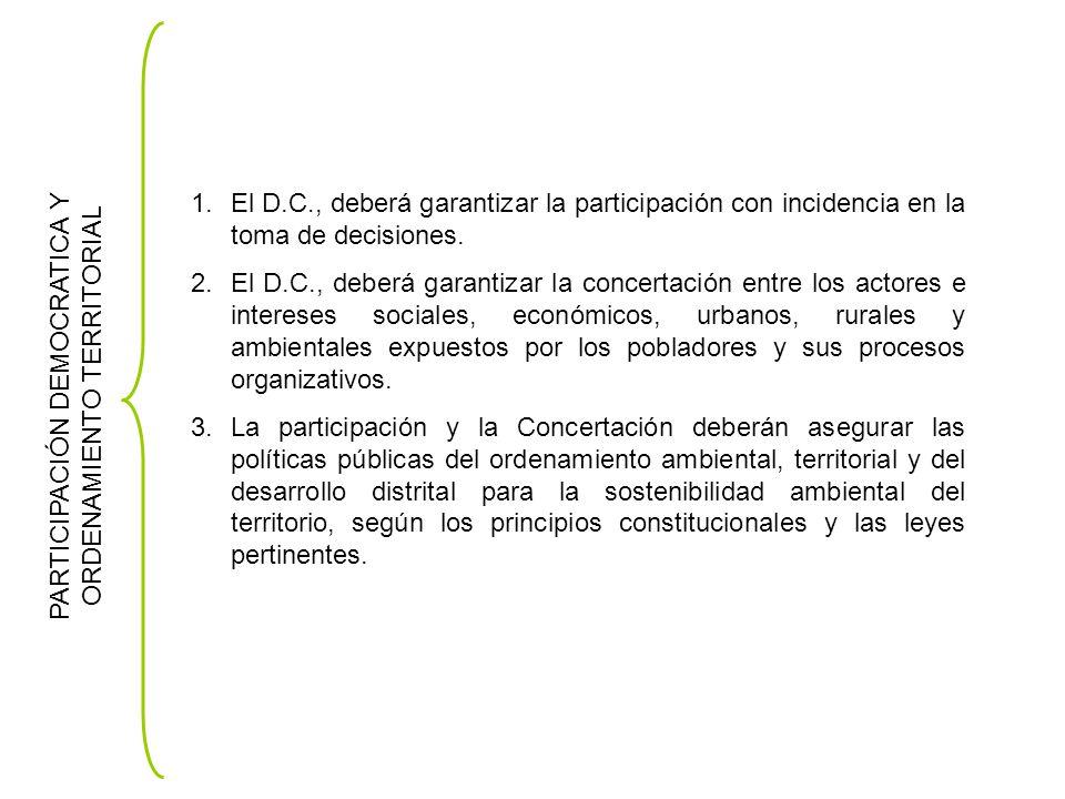 PARTICIPACIÓN DEMOCRATICA Y ORDENAMIENTO TERRITORIAL 1.El D.C., deberá garantizar la participación con incidencia en la toma de decisiones.