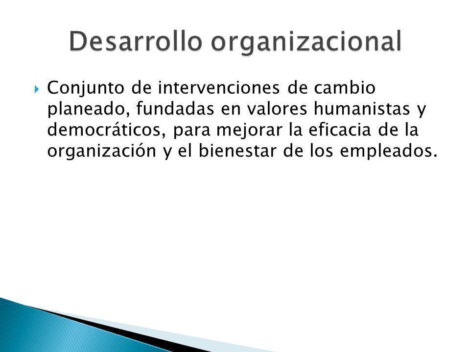 Conjunto de intervenciones de cambio planeado, fundadas en valores humanistas y democráticos, para mejorar la eficacia de la organización y el bienest