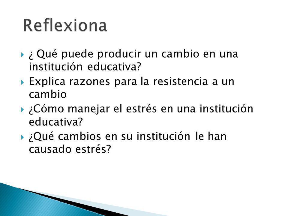 ¿ Qué puede producir un cambio en una institución educativa? Explica razones para la resistencia a un cambio ¿Cómo manejar el estrés en una institució
